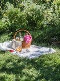 Close-up van picknickmand met dranken, vruchten en bloemen stock foto's