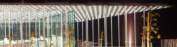 Close-up van portiek van het mooie Nationale Theater van Bahrein Royalty-vrije Stock Foto