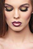 Close-up van portret van mooie vrouw Royalty-vrije Stock Afbeelding