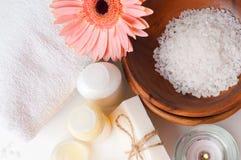 Close-up van producten voor kuuroord en lichaamsverzorging Stock Foto
