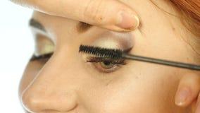 Close-up van professionele grimeurkleurstoffen de ogen van het model met een grote borstel de schoonheidsmiddelen van de manierin stock video