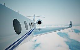 Close-up van realistisch fotowit, privé straal die van het luxe de generische ontwerp over de aarde` s oppervlakte vliegen Modern Royalty-vrije Stock Foto's