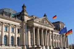 Close-up van Reichstag-de bouw in Berlijn, Duitsland Royalty-vrije Stock Afbeeldingen