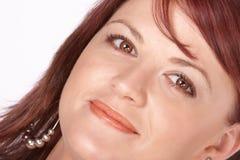 Close-up van rode hoofd rode lippen Stock Foto