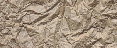 Close-up van Ruwe Bruine Gerimpelde Verpakkingsdocument Textuur Backgrou Royalty-vrije Stock Afbeeldingen