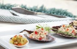 Close-up van saus en tonijnsalade Royalty-vrije Stock Afbeelding
