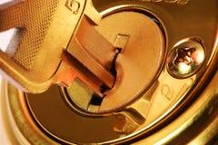 Close-up van sleutel in slot Royalty-vrije Stock Afbeelding