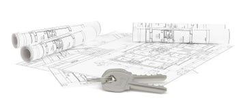 Close-up van sleutels op blauwdruk van nieuw huis royalty-vrije illustratie
