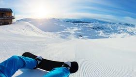 Close-up van snowboarderbenen, klaar voor looppas royalty-vrije stock foto