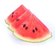 Close-up van sommige stukken van het verfrissen van watermeloen op een witte backg stock afbeelding