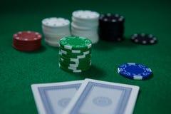 Close-up van spaanders met kaarten Royalty-vrije Stock Foto's