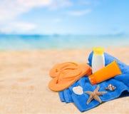 Close-up van strandtoebehoren op zand Wipschakelaars Royalty-vrije Stock Foto