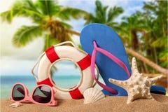 Close-up van strandtoebehoren op zand Wipschakelaars Royalty-vrije Stock Fotografie