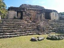 Close-up van structuur op stappen in Mayan ruïnes van Kohunlich stock foto's