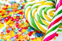 Close-up van suikergoed op abstract textuurpatroon als achtergrond Stock Afbeeldingen