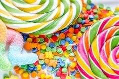 Close-up van suikergoed op abstract textuurpatroon als achtergrond Royalty-vrije Stock Foto's
