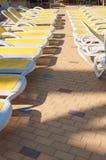 Close-up van sunbeds Stock Afbeeldingen