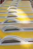 Close-up van sunbeds Royalty-vrije Stock Afbeeldingen