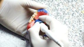 Close-up van tandtechnicus het maken van gebit in een tandlaboratorium stock videobeelden