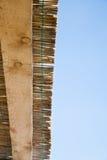 Close-up van traditioneel riet en houten dak Stock Afbeelding