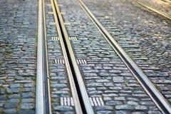 Close-up van tramsporen in Lissabon Royalty-vrije Stock Foto's