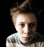 Close-up van transpirerende gespannen tiener stock afbeelding