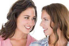 Close-up van twee mooie jonge vrouwelijke vrienden Royalty-vrije Stock Foto