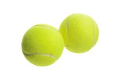 Close-up van twee tennisballen Stock Afbeelding