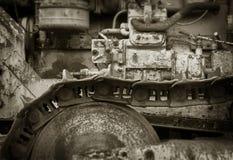 Close-up van Uitstekende Loopvlakken van een Oude Caterpillar-Tractor royalty-vrije stock afbeelding