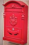 Close-up van Uitstekende Rode Duitse Brievenbus Royalty-vrije Stock Fotografie