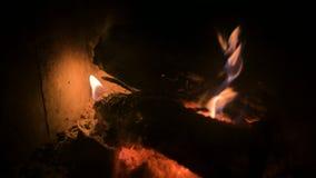 Close-up van vaag het branden van brandhout met steenkolen in een modern huisfornuis achter een vuurvast glas bij nacht Het bekij stock video
