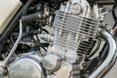Close-up van verchroomde motorfietsmotor Stock Afbeelding