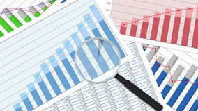 Close-up van vergrootglas op financiële grafieken en grafieken, statistieken, analyse vector illustratie