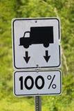 Close-up van 100% verkeersteken van de gewichtstoelage Stock Afbeeldingen