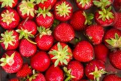 Close-up van verse rijpe perfecte aardbeien in badwater direct van hierboven Royalty-vrije Stock Foto