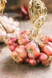 Close-up van verse rode uien Royalty-vrije Stock Afbeelding