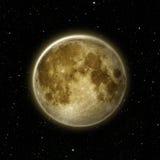 Close-up van Volle maan, maan met ster bij donkere nachthemel Stock Afbeelding