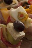 Close-up van voorgerechten op een buffet Royalty-vrije Stock Afbeeldingen