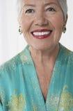 Close-up van Vrolijke Hogere vrouw in Rode Lippenstift royalty-vrije stock afbeeldingen