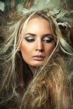 Close-up van vrouw met kapsel. Royalty-vrije Stock Foto's