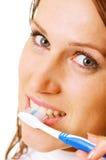 Close-up van vrouw met tandenborstel Royalty-vrije Stock Fotografie