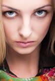 Close-up van vrouwelijk gezicht wordt geschoten dat Royalty-vrije Stock Afbeeldingen