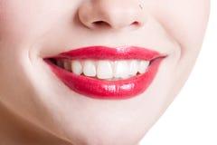 Close-up van vrouwelijke glimlach Stock Foto's