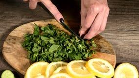 Close-up van vrouwelijke handen die muntbladeren op een scherpe raad naast gesneden komkommers en citroenen snijden Gezond en Gez stock footage