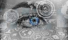 Close-up van vrouwen het digitale oog 3D teruggeven Royalty-vrije Stock Fotografie