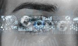 Close-up van vrouwen het digitale oog 3D teruggeven Royalty-vrije Stock Foto