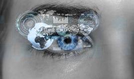 Close-up van vrouwen het digitale oog 3D teruggeven Stock Afbeeldingen