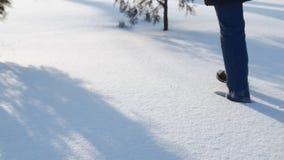 Close-up van vrouwen` s voeten die in de sneeuw lopen Slow-motion film stock videobeelden