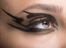 Close-up van vrouwenoog wordt geschoten met futuristische make-up die Stock Afbeeldingen