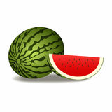 Close-up van watermeloen (geheel en plak) op witte achtergrond Royalty-vrije Stock Afbeeldingen